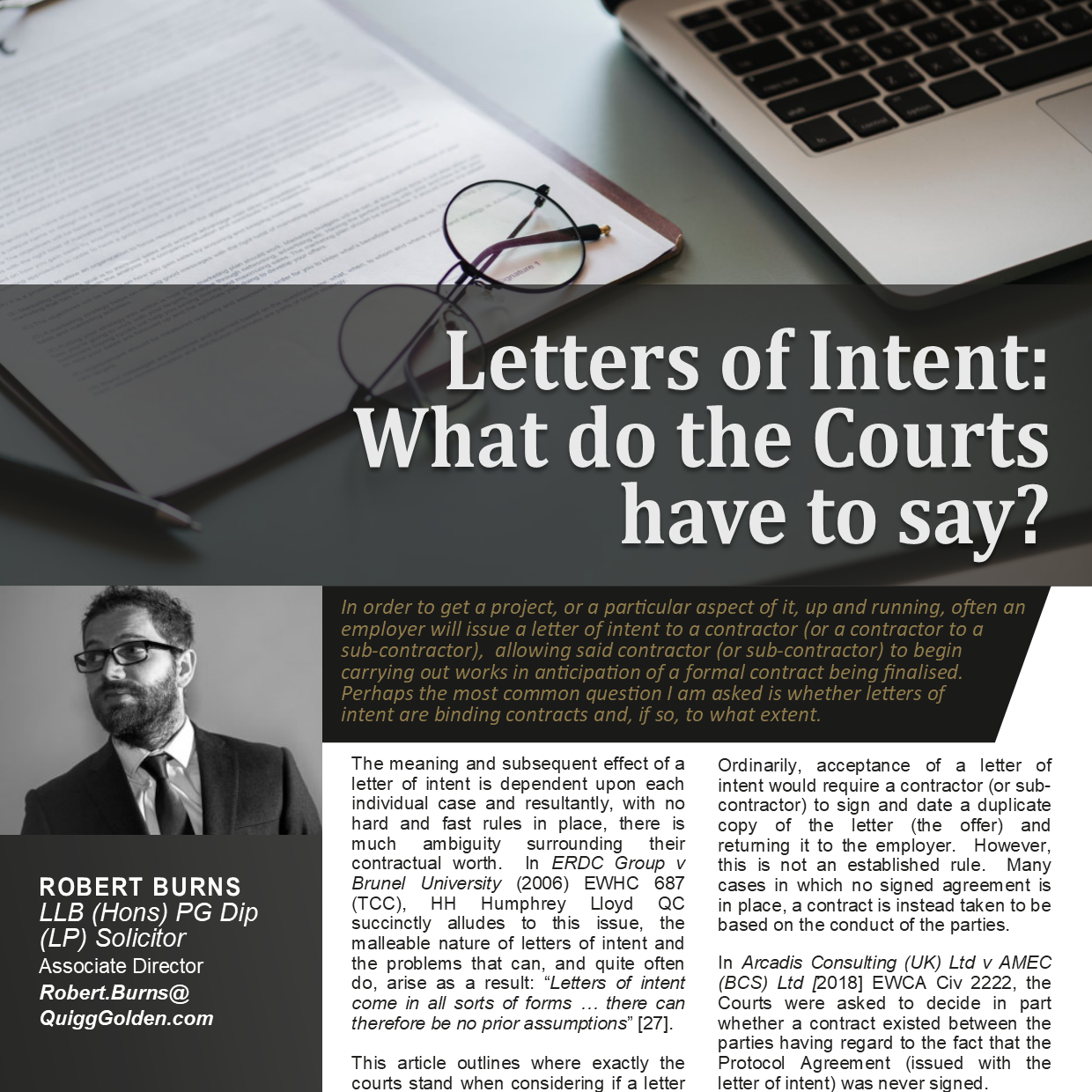 Letters Of Intent: What Do The Courts Have To Say?
