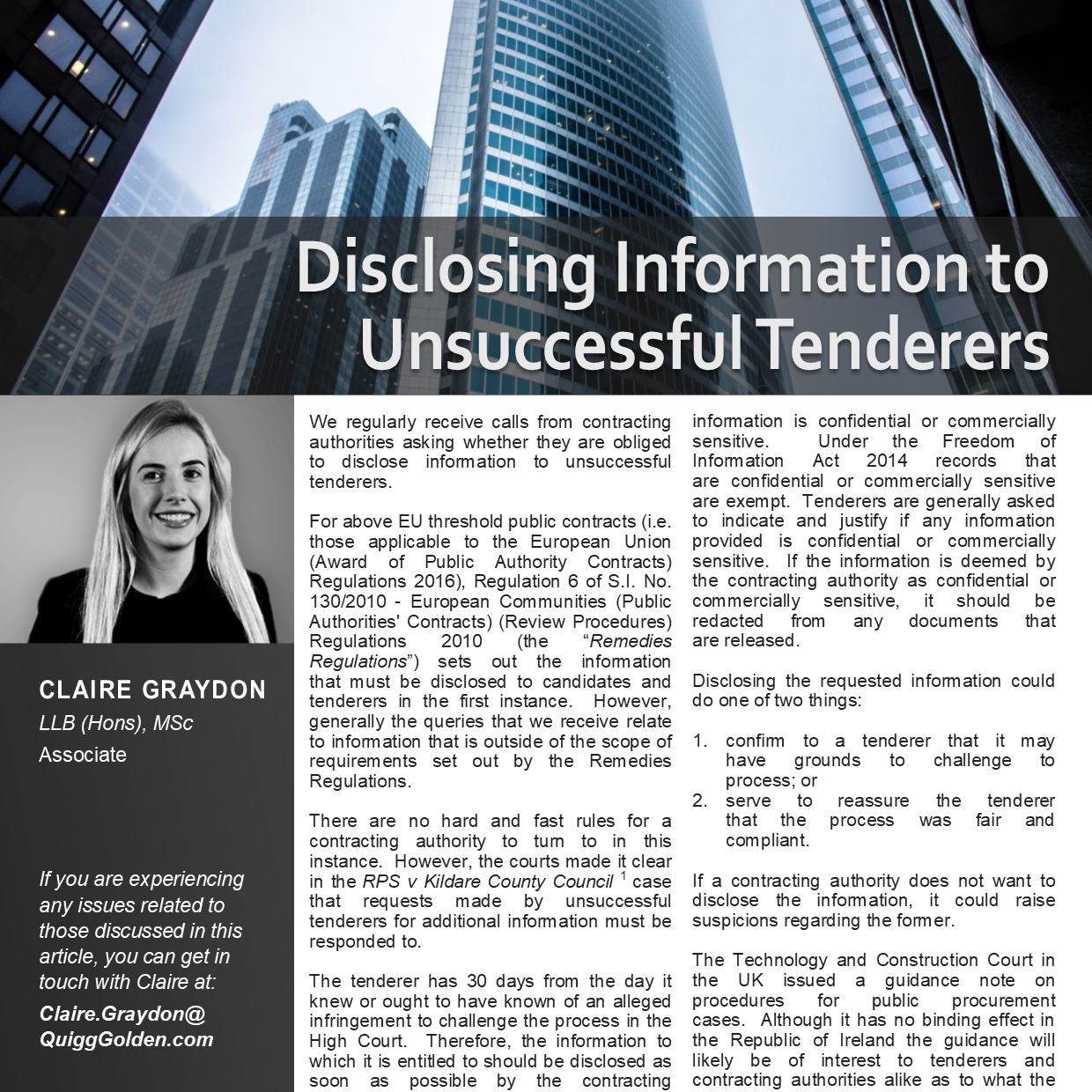 Disclosing Information to Unsuccessful Tenderers Article