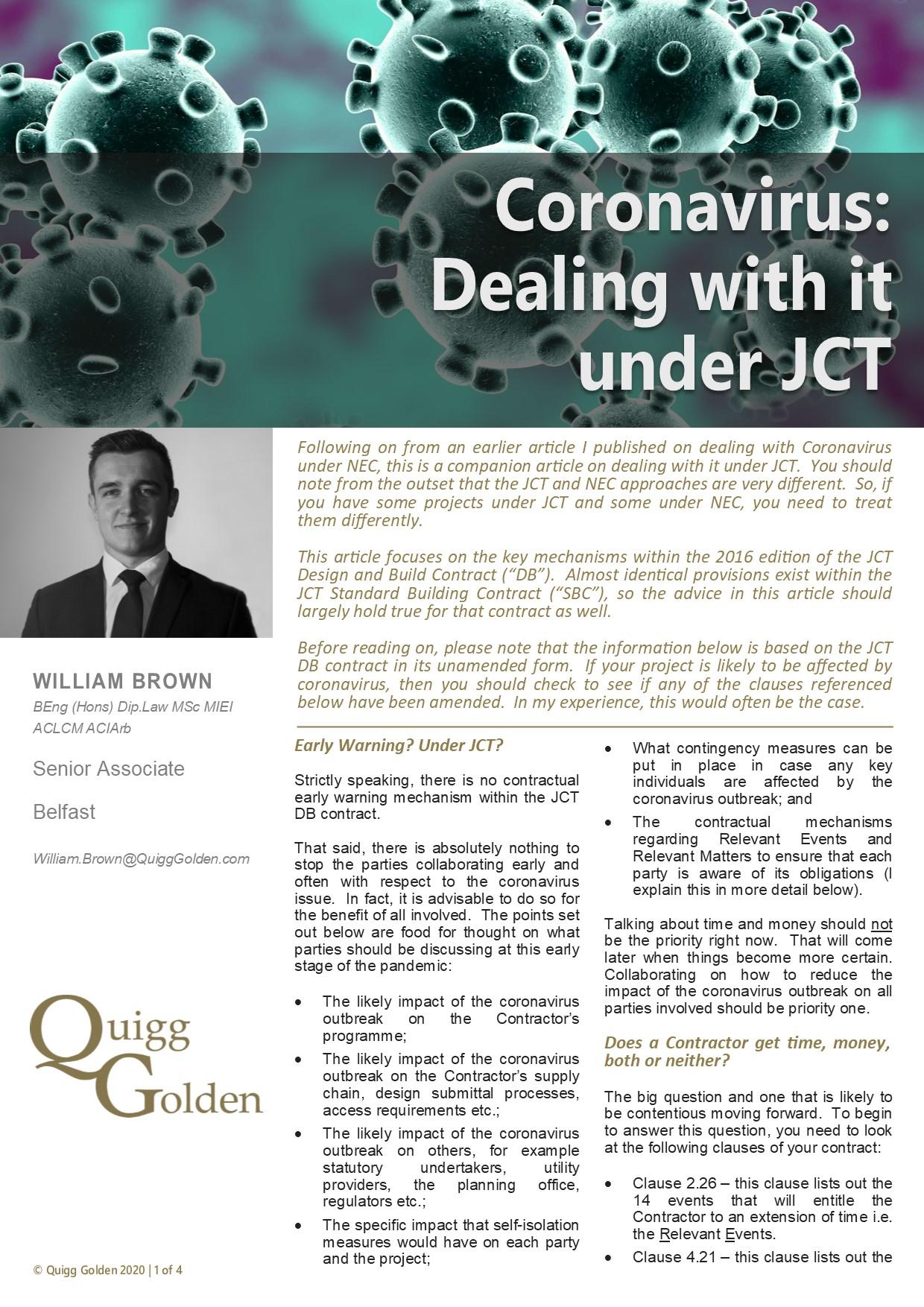 Coronavirus: Dealing with it under JCT Article PDF