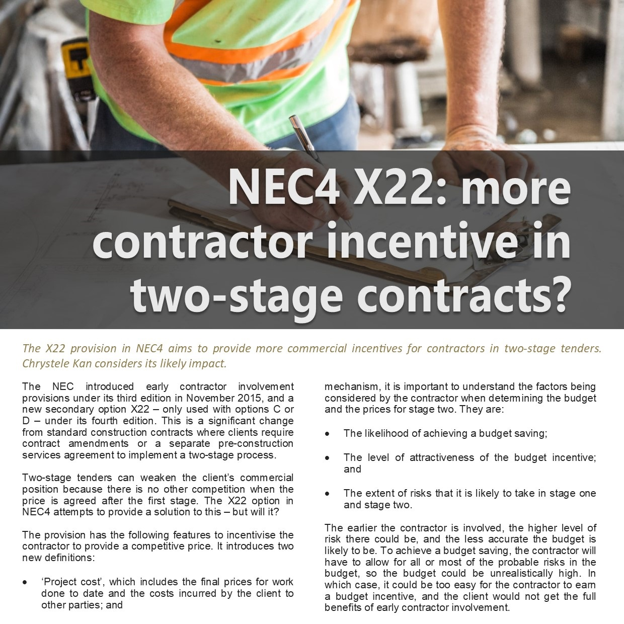 NEC4 X22: Contractor Incentive in Two Stage Contracts Article PDF