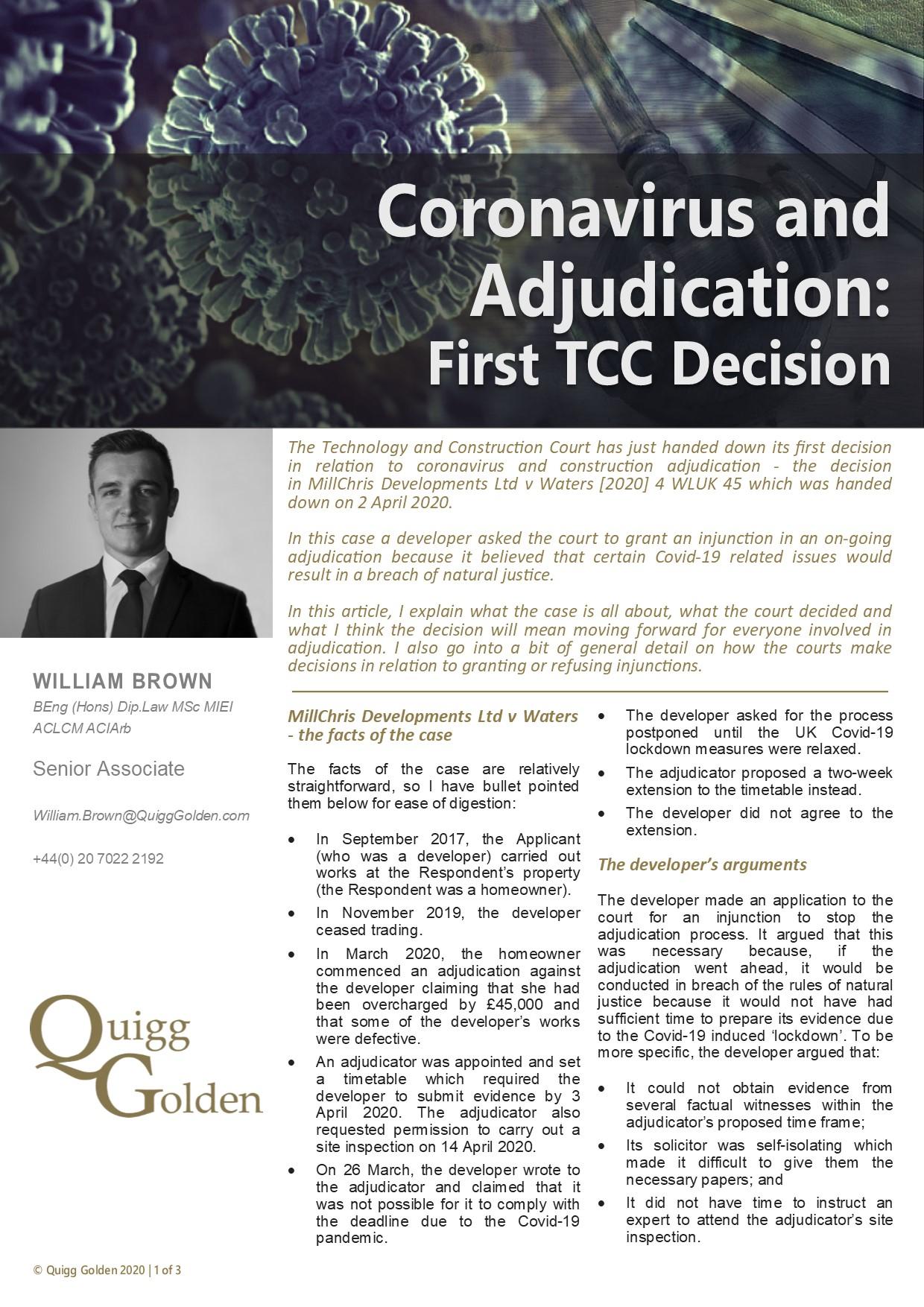 Coronavirus Construction Adjudication