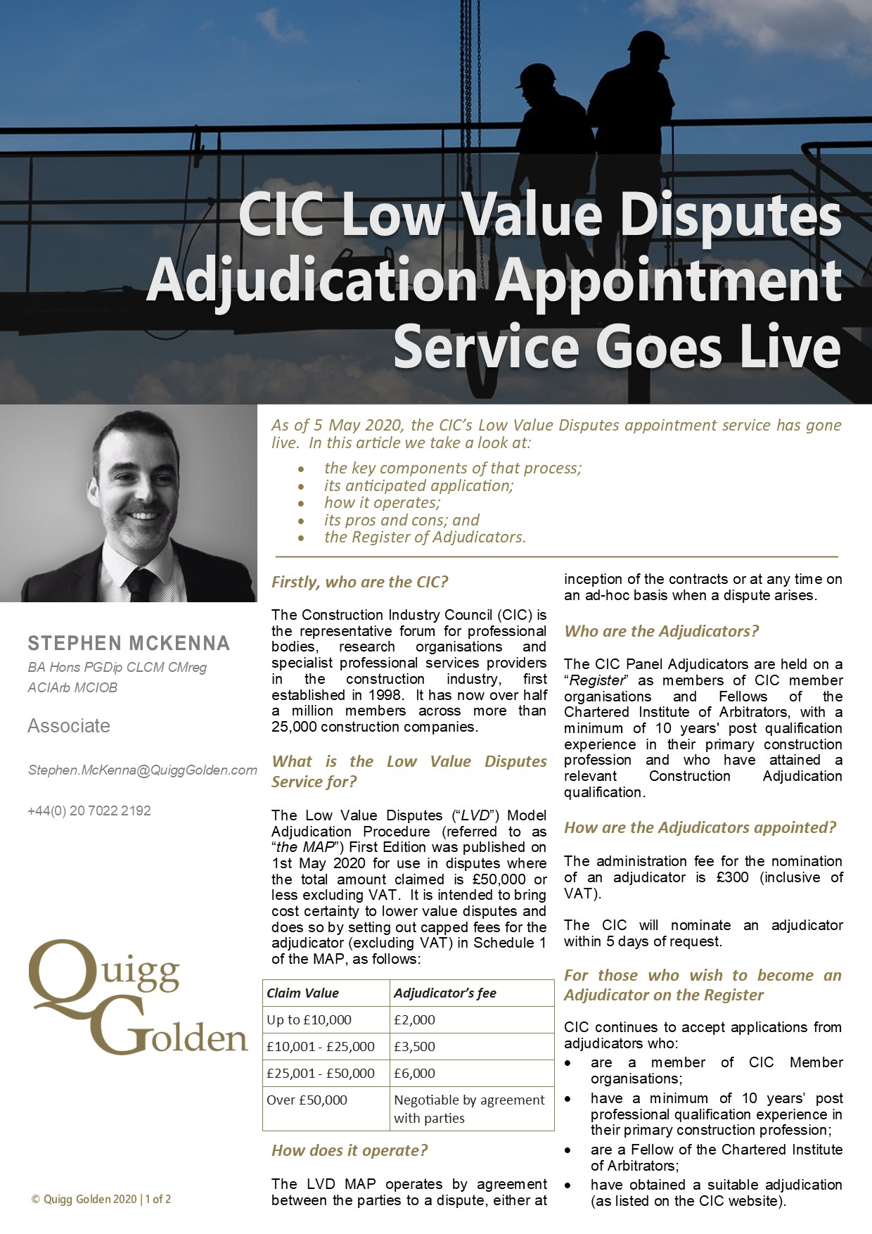 CIC Low Value Disputes Adjudication Appointment Service Goes Live Article Link