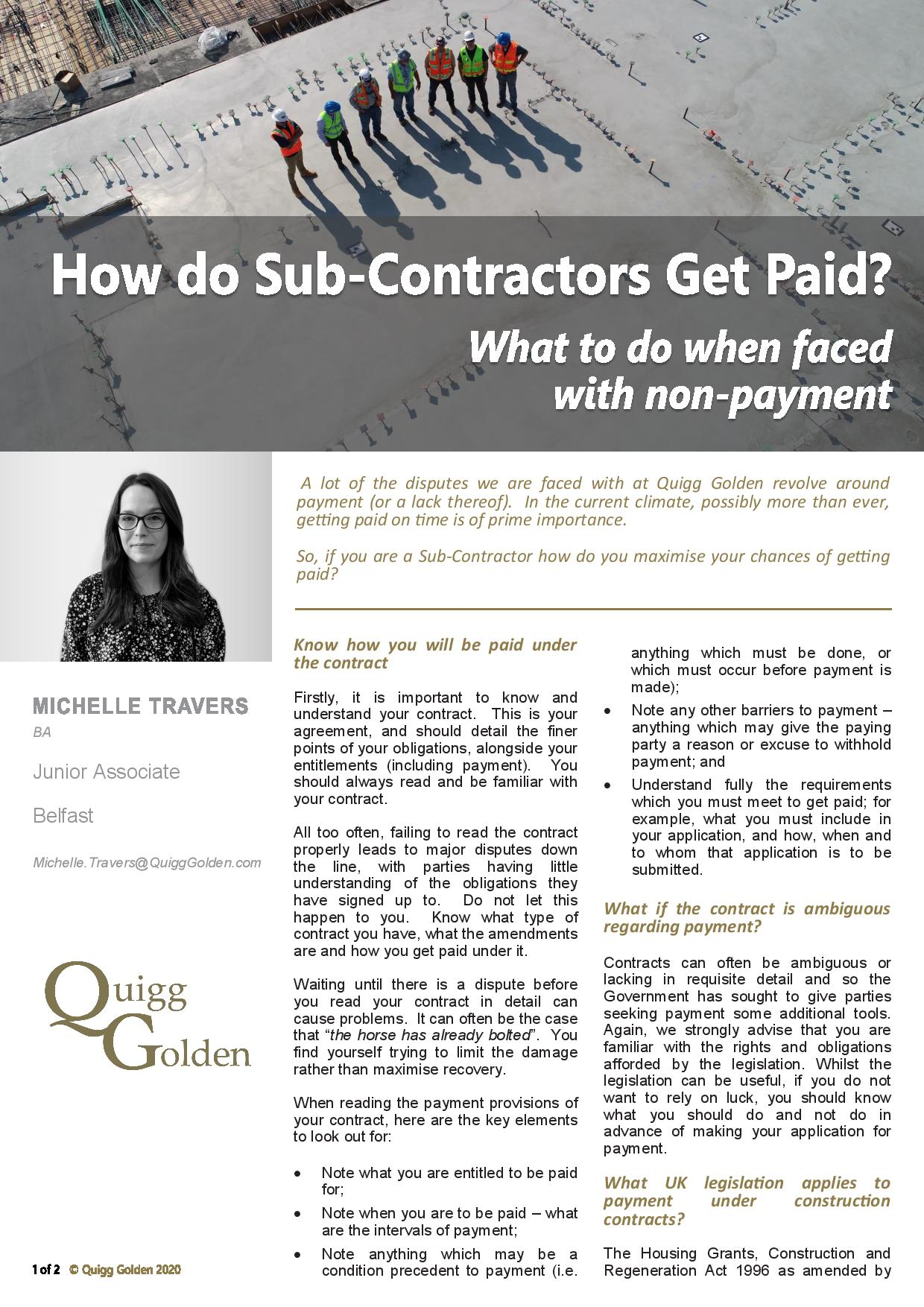 How do Sub-Contractors get paid? What to do when faced with non-payment